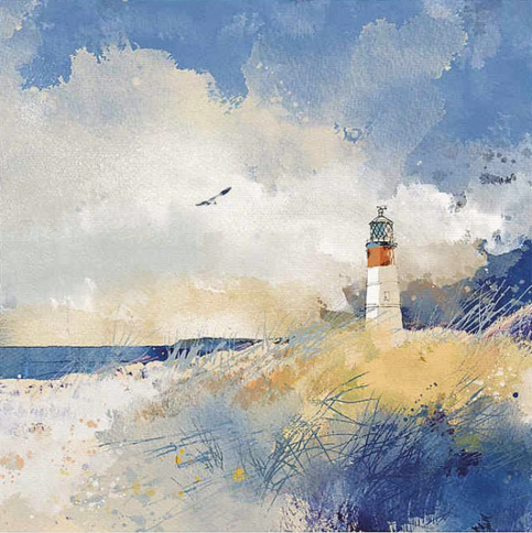 Beach with Lighthouse Canvas Painting Print