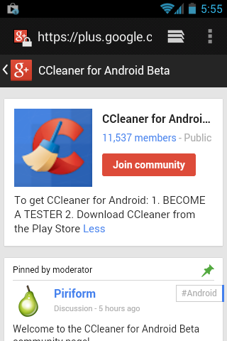 CCleaner for Android community