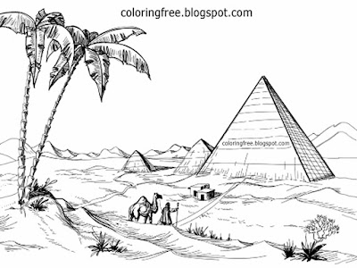 Barren region desert scenery of Giza pyramid Egypt drawing Egyptian coloring in pages teenage prints