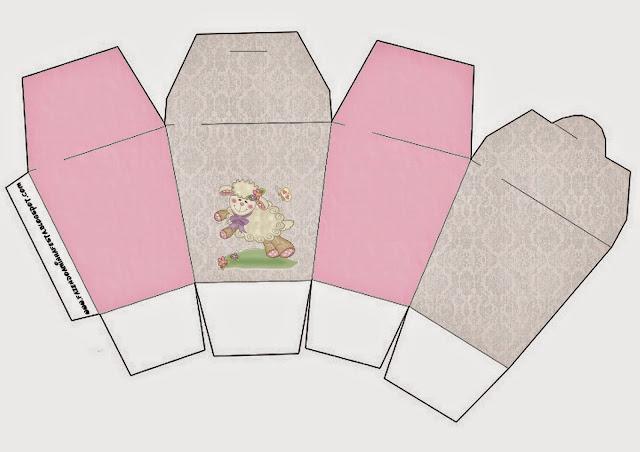 "Caja tipo ""de comida china""de Ovejita en Fondo Rosa."