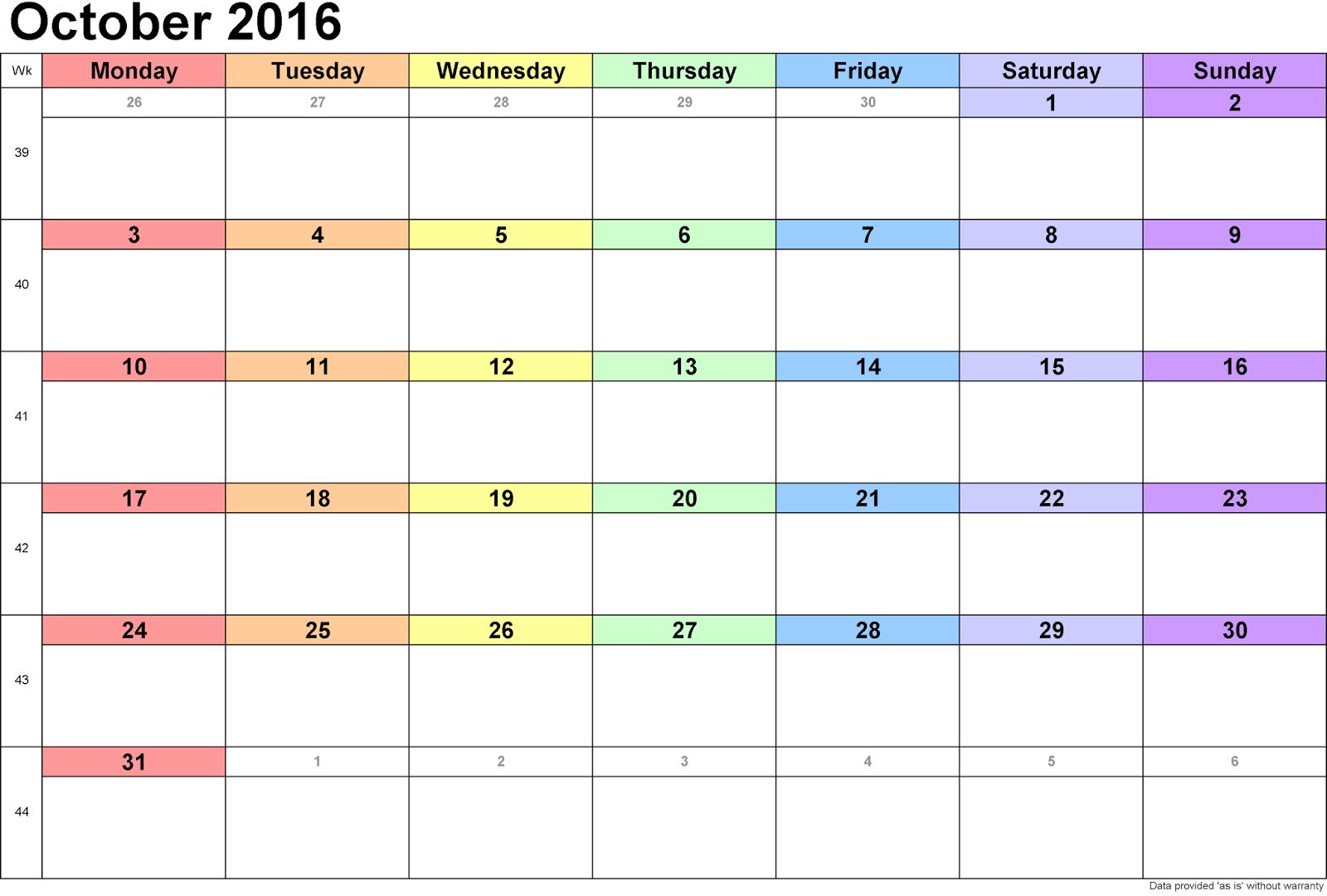 Cute Calendar October 2016 : October printable calendar landscape a portrait