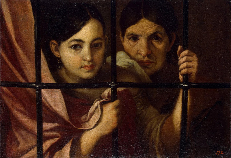 Two Women Behind a Grille by Bartolome Esteban Murillo - Genre Paintings from Hermitage Museum