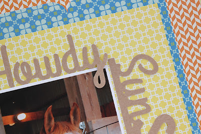 Horse Layout using Howdy Sunshine Free Cut File by Juliana Michaels with horseshoes and howdy sunshine title detail