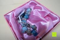 in der Box: A TE® Armband Charms Damen Kristall Blau Muranoglas Blume Glasperle Mädchen Geschenk Frauen #JW-B94