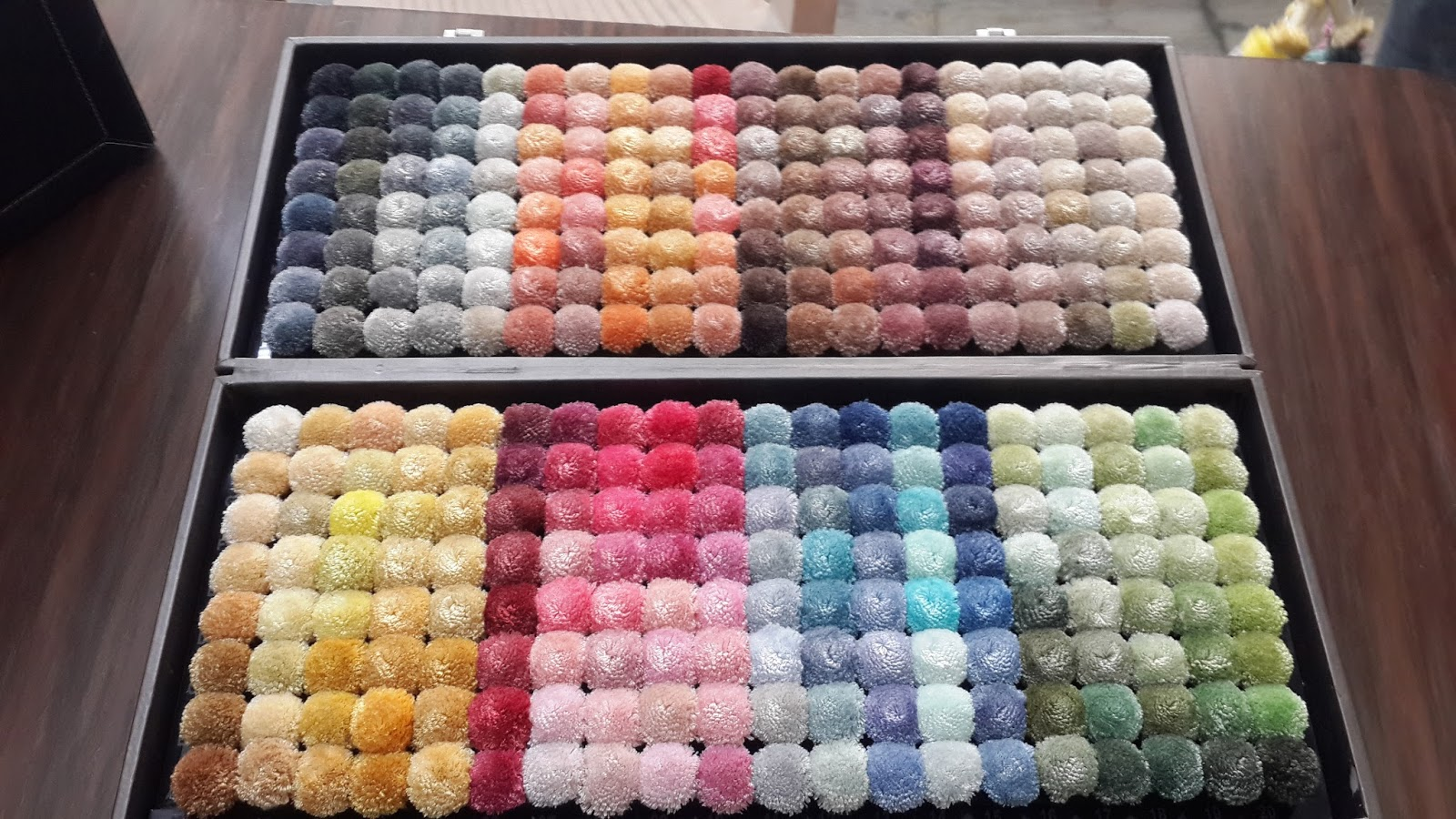 color pom pom box wool, silk, bamboo, cotton, nylon, acrylic