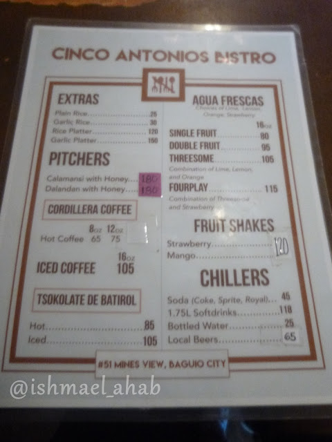 Menu of dishes of Cinco Antonios Bistro, Baguio City