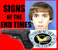 graphic by Erika Grey of Adam Lanza, Sandy Hook Shooting Signs of the End Times  showing photo of Adam Lanza, town of Newtown seal and a glock pistol, with the caption in capital black letters against a red background Signs of the End Times