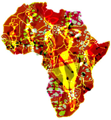 Africa map. Top five largest countries of Africa is Algeria, Congo Democratic Republic of the, Sudan, Libya and Chad.