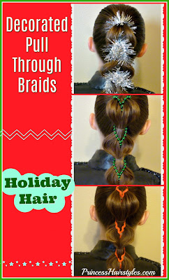 Holiday hairstyle ideas! Decorated pull through braids, video instructions.