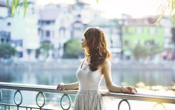 Wallpaper: Asian girl in the sunlight