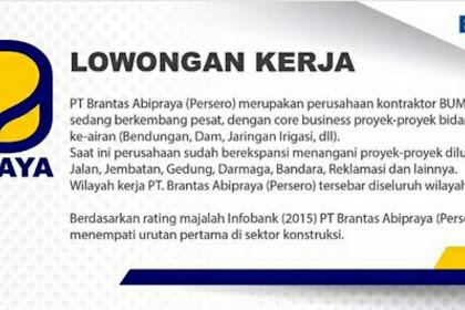 Lowongan Kerja (BUMN) OPERATOR BIM & SUPERVISI BIM PT Brantas Abipraya (Persero) Penempatan Seluruh Wilayah Indonesia