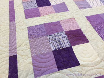 Purple Charm Square Quilt made by Elaine,  using Nightlight Digital Pantograph