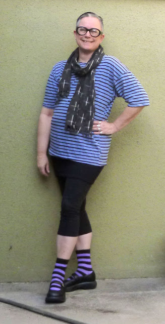 SpyGirl in a Periwinkle colored stripe tee