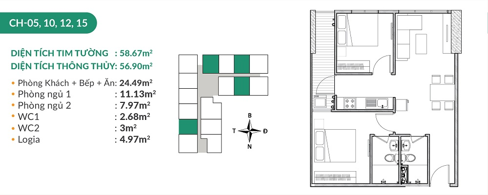 Căn hộ CH5,10,12,15 chung cư Areca Garden