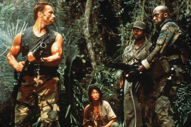 John McTiernan's Predator L-R: Arnold Schwarzenegger as Dutch, Elpidia Carrillo as Anna, Carl Weathers as Dillon and Bill Duke as Mac