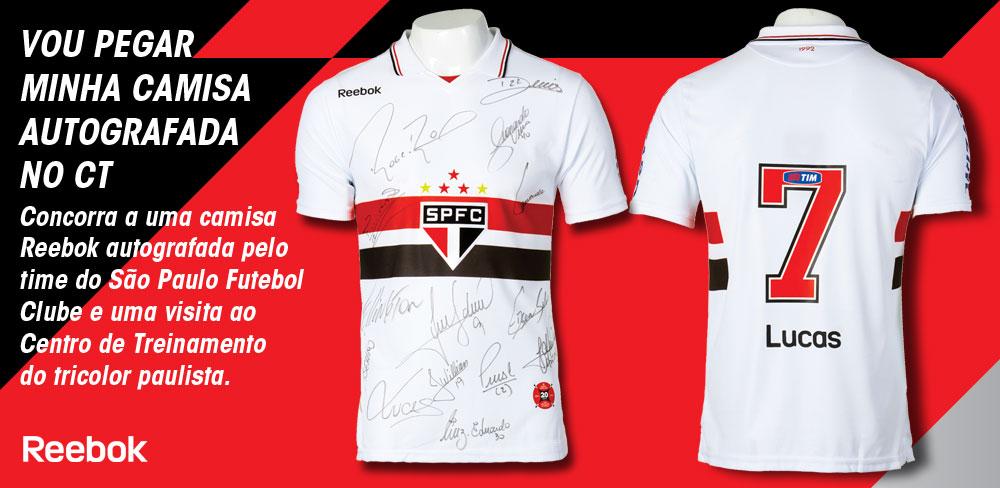b3b8cd69a7 Imagine buscar sua camisa autografada pelos jogadores do São Paulo Futebol  Clube no Centro de Treinamento do time  A Futebol Superstore e a Reebok ...