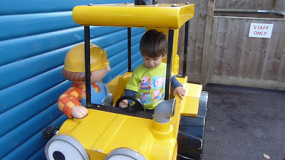 Our toddler on a ride at Peppa Pig World, Paultons Park