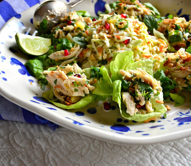 This Asian Chicken Salad with crushed pineapple has a simple Vietnamese style dressing and can be served in lettuce cups or as a salad. Perfect as a light dinner or an appetizer! #poachedchicken #chicken #salad #Asianrecipes www.thisishowicook.com