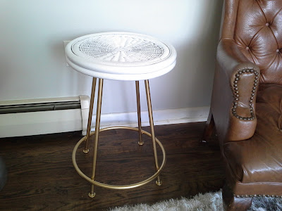 Wicker rattan bamboo metal gold white table