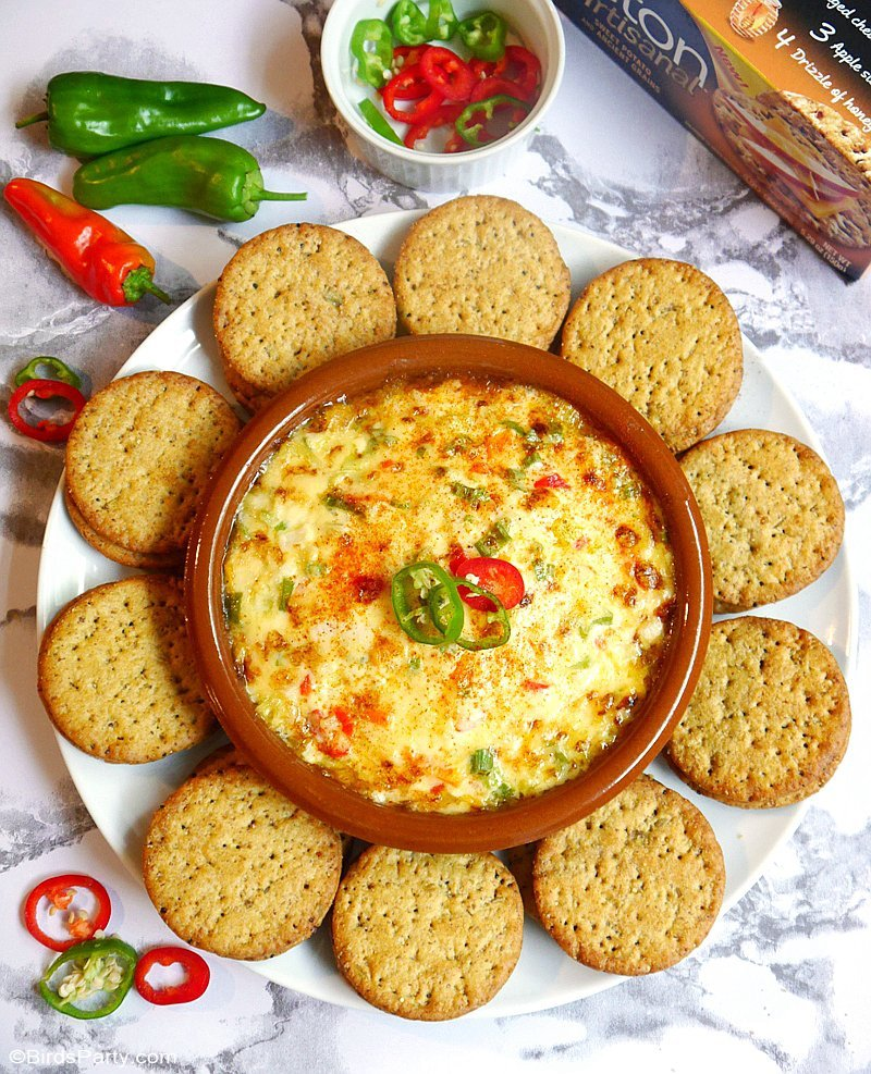 Party Food | Spiced Mexican Cheese & Onion Dip - quick and easy to make this recipe will be come your party go-to appetizer or snack! by BirdsParty.com @birdsparty
