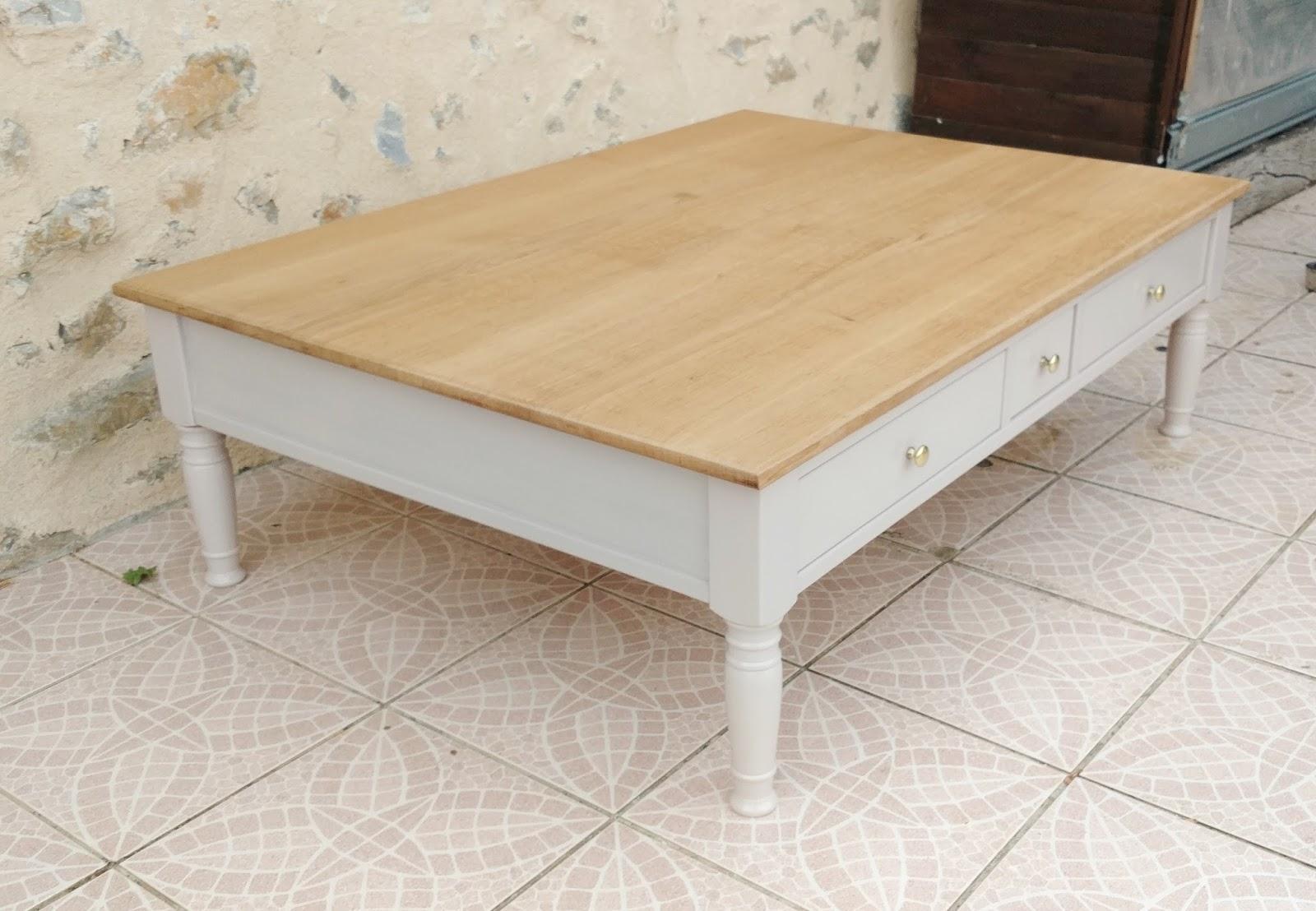 O\' bois recyclé : Grande table basse en chêne et hêtre massif