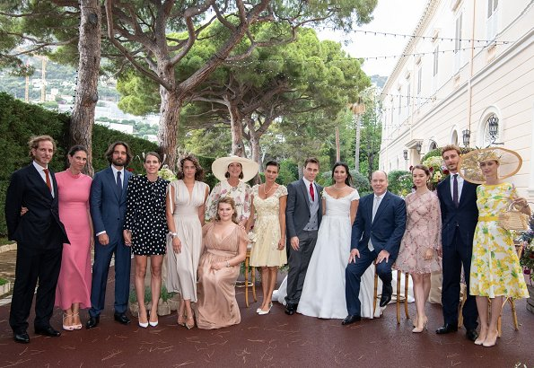Princess Stephanie wore THEIA beaded cocktail dress, Beatrice Borromeo, Charlotte Casiraghi, J. Mendel dress, Princess Charlene