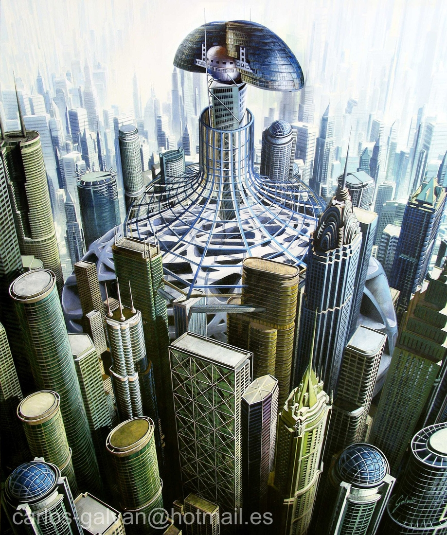 12-Menina-Metropolitana-Carlos-Galvan-Fantasy-Cityscapes-depicted-in-Paintings-www-designstack-co