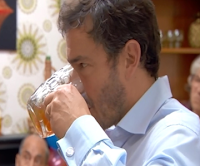 Giles Coren drinks home brew
