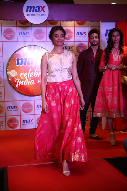 Actress Radhika Apte walking the ramp at the Festive collection launch