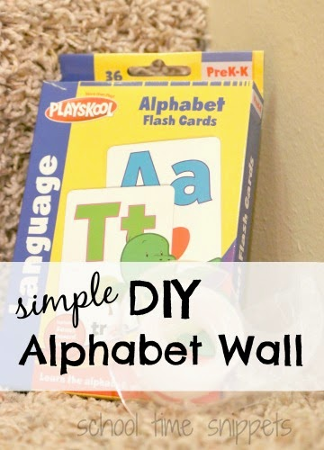diy alphabet wall using flashcards