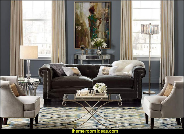 Hollywood glam living rooms - old Hollywood style decorating ideas - Luxe living rooms furniture - old Hollywood glamor decorating ideas - Hollywood glam furniture - mirrored furniture