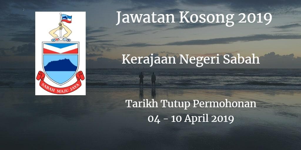 Jawatan Kosong Kerajaan Negeri Sabah 04 - 10 April 2019