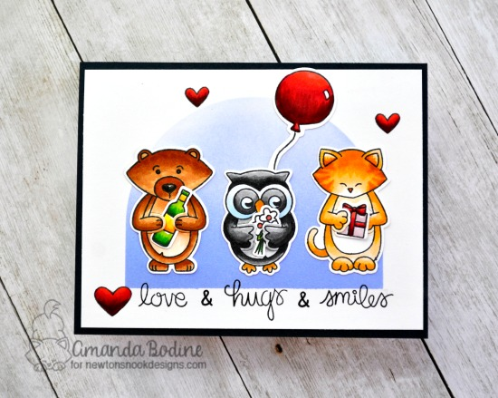 Love, Hugs & Smiles Card by Amanda Bodine | Sending Hugs Stamp Set by Newton's Nook Designs #newtonsnook #handmade