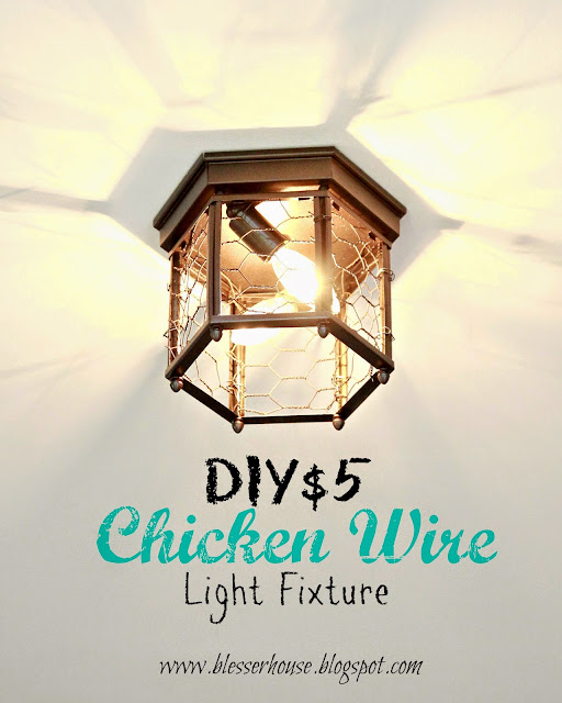 Chicken wire light makeover