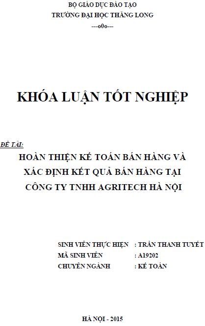 Hoàn thiện kế toán bán hàng và xác định kết quả bán hàng tại Công ty TNHH Agritech Hà Nội