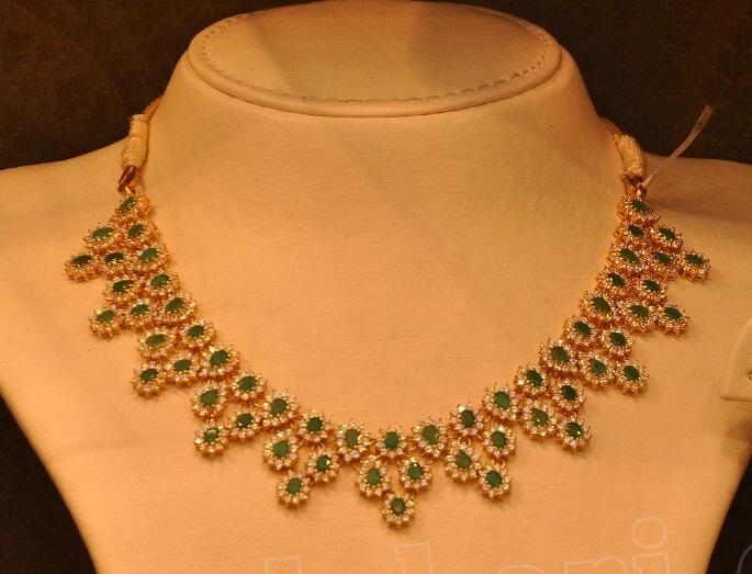 Emeralds And Diamonds Necklace Jewellery Designs