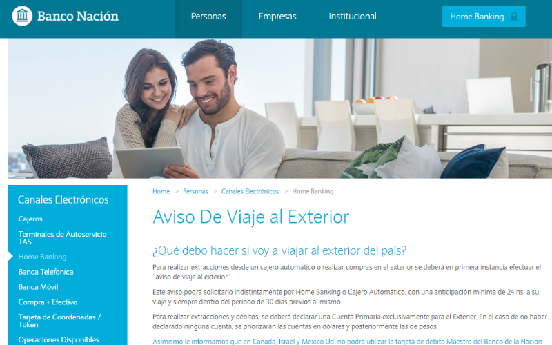 4d09d777d3b Cómo hacer el aviso de viaje al exterior en Banco Nación  autorizar ...