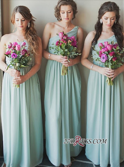 Popular One-Shoulder Floor Length Sleeveless Bridesmaid Dress | A Line Chiffon Maid Of Hornor Dress