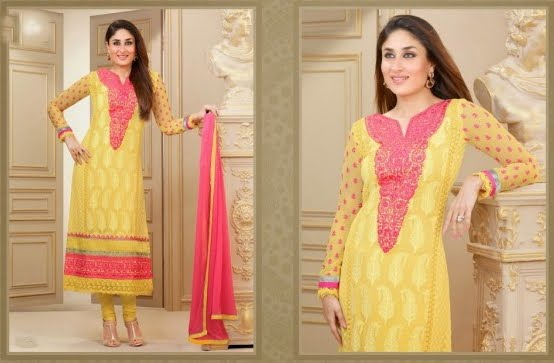Kareena Kapoor in Yellow Pure Georgette Salwar Kameez
