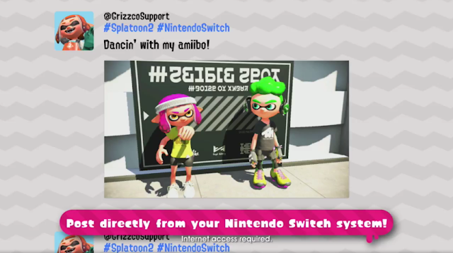 Splatoon 2 @GrizzoSupport Grizzco Support fake Twitter Nintendo Switch Inkling dancin with my amiibo dancing