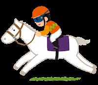 馬に乗るジョッキーのイラスト(オレンジ)