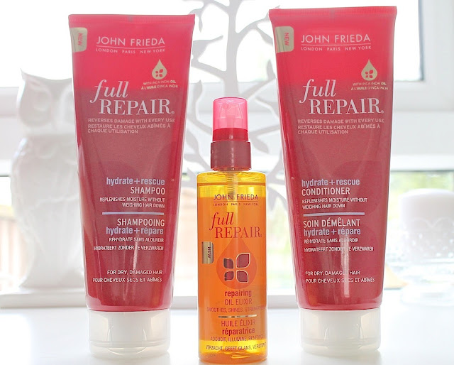 budget shampoo, conditioner , oil for repairing damaged hair from john frieda
