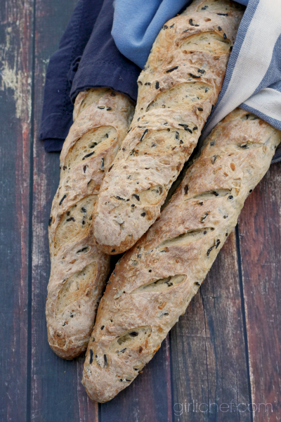 Wild Rice and Onion Baguettes by @girlichef