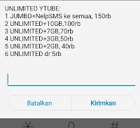 Paket Internet Unlimited YouTube Facebook Line Wa