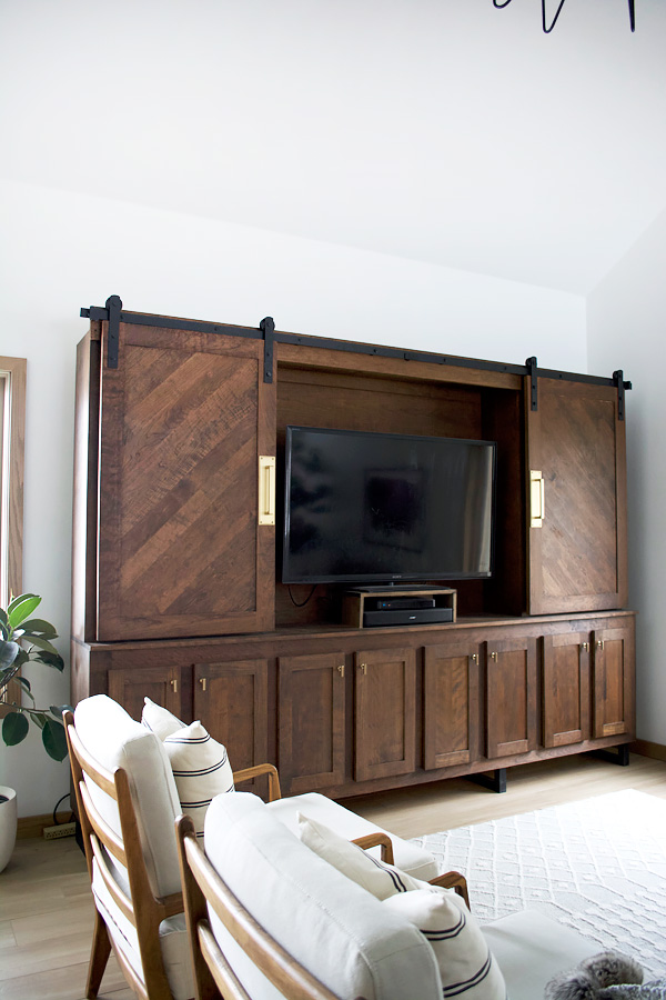 Hide a TV with a large wall unit
