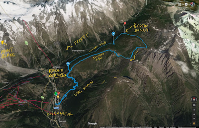 Tracks of hike from Courmayeur to Rifugio Bonatti.