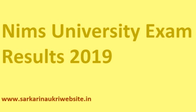 NIMS University Results 2020 Exam Merit List Online