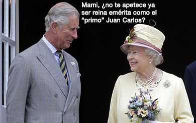 el villano arrinconado, humor, chistes, reir, satira, principe carlos, Isabel II