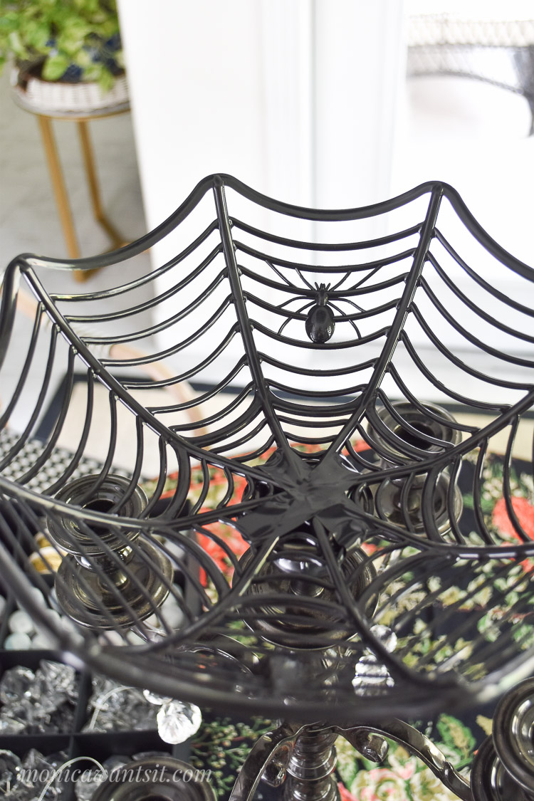 A dollar store spider web bowl for a centerpiece
