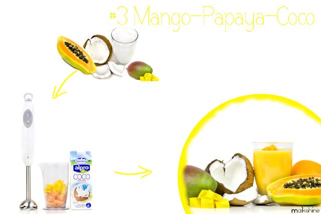 Coconut - papaya - mango smoothie